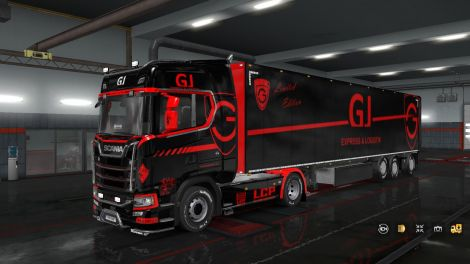 Скин «GJ Express black & red» для прицепа и Scania S 2016